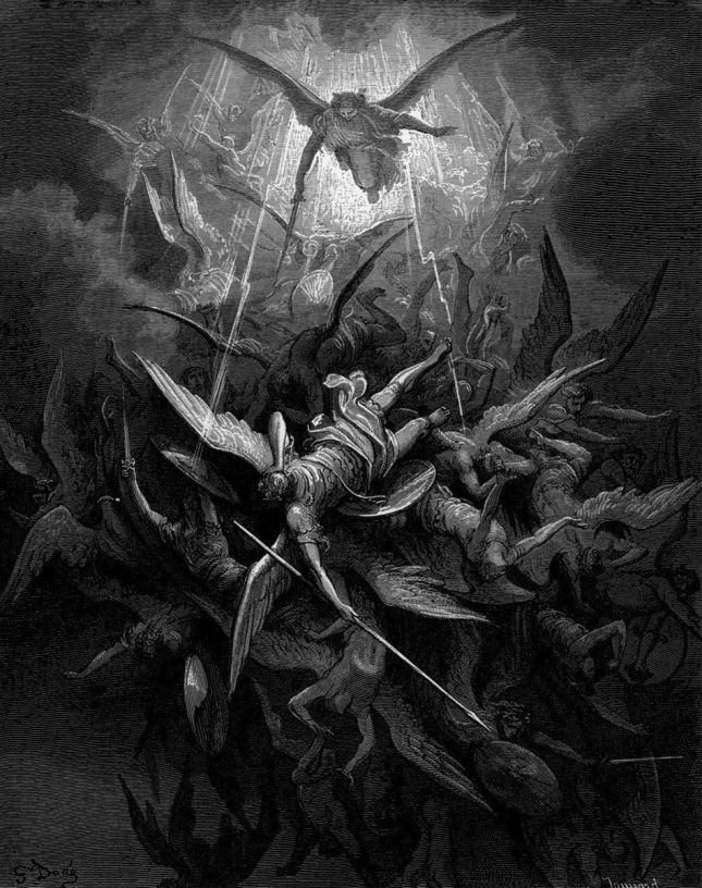 Him the Almighty Power / Hurled headlong flaming from the ethereal sky (I.44-45)