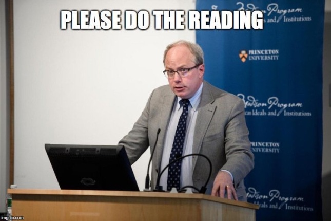 Professor Vermeule says, 'Please do the reading.'