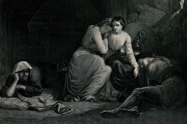 Amoret and Aemylia with Prince Arthur in the cottage of Sclaunder, by G.A. Periam.